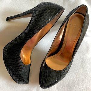 BCBG Leather Snakeskin Stiletto Heels